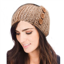 Winter Lady Crochet Headband Knitted Handmade Wooden 3 Buttons Hairband Women Ear Warmer Headwrap Hair Band Accessories