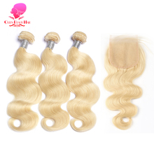 Queen Beauty 613 Blonde Brazilian Body Wave Remy Human Hair Weave Bundles 4X4 Lace Closure,Lace Closure Brazilian Virgin Hair(China)