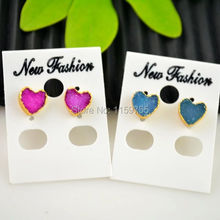Jewellery Making 3 Pair Love Heart Shape Earrings,Fashion Nature Druzy Stones Stud Earrings, Gold Color Druzy Earrings(China)