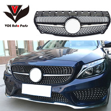 Mercedes W117 Gloss Black ABS Plastic Diamond Front Racing Grill Grile for Benz 2014 2015 2016 CLA180 CLA200 CLA220 CLA250