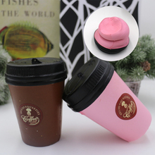 Antistress 11CM PU Squeeze Squishy Tea Coffee Cup Slow Soft Vent Toy Slow Rebound Collect Children Gift Pink Brown