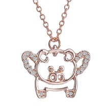 Fashion Design Cute Pig With Rhinestone Pendant Necklace Rose Gold Necklace Gift For Child