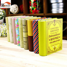 CUSHAWFAMILY mini European style books shape candy storage box wedding favor tin box zakka cable organizer container household(China)