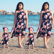Summer Fashion Family Set Clothes For Mother and Daughter Sleeveless Suspenders Backless Floral Printed Dresses