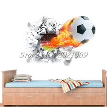 New Novelty Football Wall Sticker break out 3D Decal House Decor Sport Soccer Boy Kids Room Bedroom Art Mural Hotsale