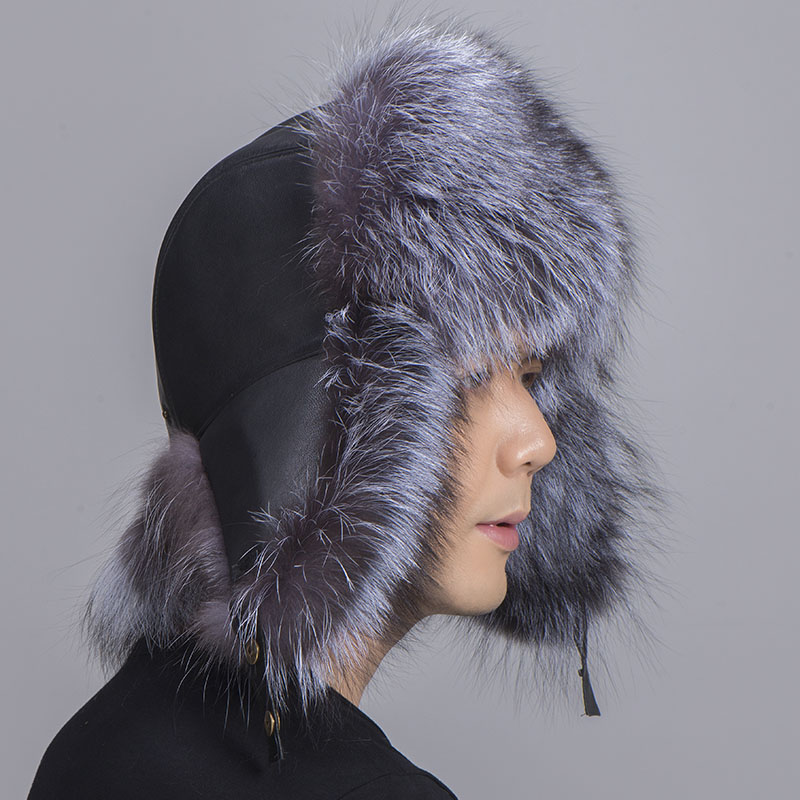 big fur hat silver fox fur 1
