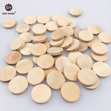 Let's Make Natural Flat Wood Round Beads 100pcs 20mm Unfinished DIY Wood Chips Circles Wood Discs Wooden Tags Labels(China)