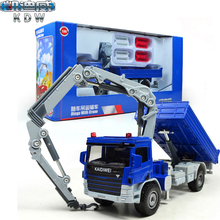 KaiDiWei Atego Truck With Crane 1:50 Alloy Model Construction Vehicles Trucks Toy Diecast Car Collection Gift Toys For Children
