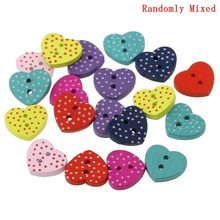 "DoreenBeads Wood Sewing Button Scrapbooking Heart Mixed Two Holes Dot Pattern 15.0mm( 5/8"") x 13.0mm( 4/8""), 15 PCs 2015 new(China)"