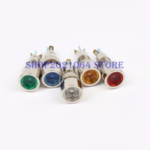 LED Metal Indicator light 8mm waterproof POWER Signal lamp 6V 12V 24V 220v red yellow blue green white 8mmXHD.C