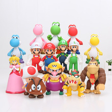 8~15cm Super Mario Bros Bowser Koopa Yoshi Mario Luigi Donkey Kong PVC Figure Toys Model Dolls(China)