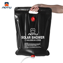 Aotu 20L Foldable Water Bag Solar Energy Heated Camp PVC Hot Shower Bag Portable Solar Shower Bathing Bag Picnic Water Storage(China)