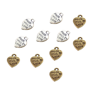 9*12MM 50pcs/lot Heart Shape Vintage Charms Silver/Bronze MADE WITH LOVE Pendants Necklace&Bracelet Diy Pendants Beads(China)