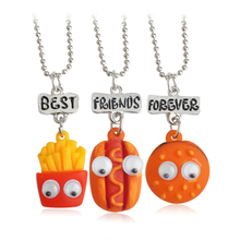 3pcs/set BEST FRIENDS FOREVER French fries hot dog hamburger Pendant Necklaces BFF Friendship Jewelry Christmas Gift Birthday(China)
