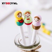3 Pcs/set Kawaii Russian Girl Doll Gel Pen 0.3mm Black ink Writing Signing Stationery Creative Gift School Office Supply(China)