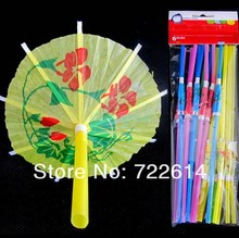 100pcs 3D Paper Umbrella Cocktail Drinking Straws Novelty Party Bar Decorations