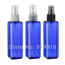 free shipping discount capacity100ml square blue perfume spray bottles 50pc/lot wholesale(China)