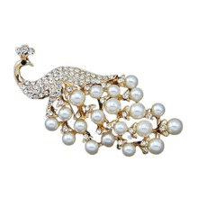 Fashion Pearl Jewelry Peacock Faux Pearl Brooch Woman Jewelry