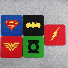 Freeshipping 10 pcs Justice League Superhero Square Felt Coaster Superman Batman Wonderwoman Flash Cup mats Cartoon Pad supply(China)
