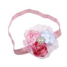 Newly Design Fashion Charming Children Baby Girls Rose Pearl Diamond Lace Hairbands Beautiful Headwear Accessories July24