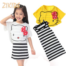 4-14 Years Girls Clothing Sets Summer 2017 Hello Kitty White  Shawl +Striped Skirts Kids Children Clothes for Casual Beach Party