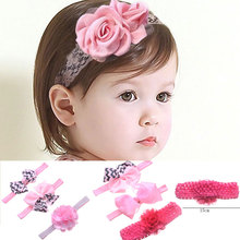 M MISM 2017 1 Set=3pcs Silk Flower Bow Tie Hair Elastic Band Kid Lace Headband Soft Wide Band Hair Accessories Newborn Hair band(China)