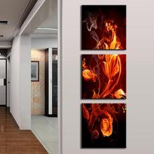Discount Framed Painting 3 Pieces Modern Abstract Canvas Painting Fire Floral Pattern In Black Free Shipping AB3007(China)