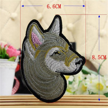 Kids clothes Iron on Patches For boys clothes & girls clothes Animal Embroidered Patches Gray Badge Dog Logo Free Shipping