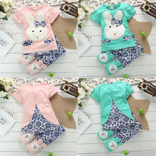2016 Cotton Baby Boy Girl Clothes Cartoon Cute Rabbit Bunny Short Sleeve Tops T-shirt+Pants Outfits Twinset 1-
