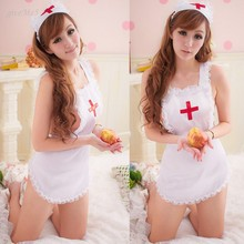 Promotions Sexy Lingerie Costume Maid Uniform Hot Underwear Maid Outfit Nurse Lingerie With G-string and Hat#3 12
