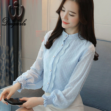 Buy Dingaozlz 2018 spring new long-sleeved Korean Slim chiffon shirt fashion lace tops women clothing chiffon blouse for $13.60 in AliExpress store