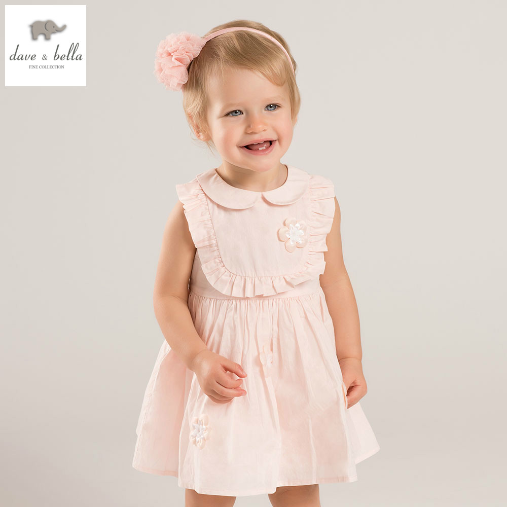 DB5231 dave bella summer baby girl princess dress flowers dress baby wedding dress kids birthday cute clothes dress<br>