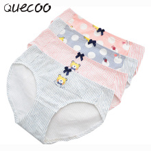 QUECOO M-XXL Female cotton crotch in the waist code cartoon brief cotton fabric girls cute little torn panties women's underwear