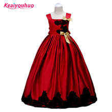 2017 Baby Flower Girl Dress Kids Party Wear Children's Clothing Girl Wedding Dresses Tulle Teenagers lace Prom Formal Gown(China)