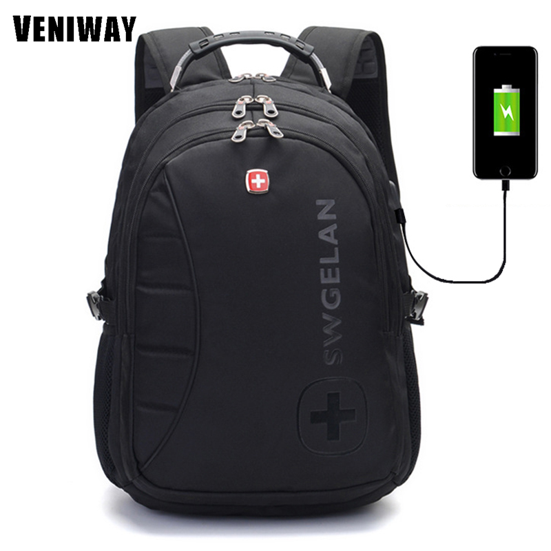 VENIWAY Large Capacity Waterproof Laptop Usb Charge Siwss Cross Gear Backpack Business Backpacks Daily Travel Bag Boys Schoolbag<br>