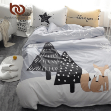 BeddingOutlet Fox Beside Tree Printed Bedding Set Kids Bedspread Duvet Cover Set Cute 100% Cotton Bed Set With Flat Sheet 4Pcs