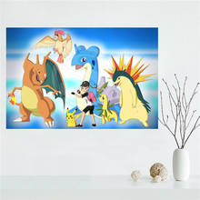 E#627L53 Custom charizard Pokemon Anime Canvas Painting Wall Silk Poster cloth print DIY Fabric Poster free shipping Y42-2