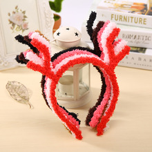 6 Fashion Colors Furry Deer Antlers Cute Hair Bands Headbands for Girls Kids Women Headwear