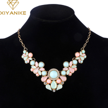 Hot Sweet Elegant Women Bohemian Bib Gem Choker Necklace & Fresh Candy Color Statement Pendant Necklaces moda mujer XY-N155(China)
