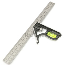"Precise Stainless Steel Measuring Tools Aluminium Combination Square Diy Workshop Hardware Angle Spirit Level 12"" (300mm) New"