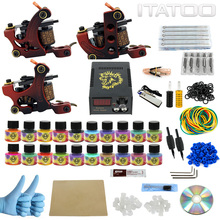 ITATOO Beginner Tattoo Kit 3 Guns Tattoo Machine Set with 20pcs 5ml Tattoo Ink Supply Professional TK1000011