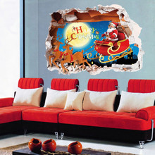 Stylish Removable 3D Chrismas Santa Wall Sticker Art Vinyl Decals Bedroom Decor Christmas Wall Stickers(China)