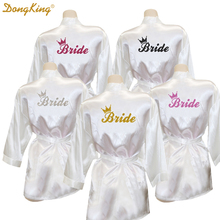 DongKing Bride Crown Robe Golden Glitter Print Kimono Robes Wedding Gift Faux Silk Bachelorette Bride Robes Love Dress 5 Colors