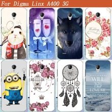 "For digma linx a400 3g Cases 2017 New DIY UV Painted Colored Wolf Rabbit Girl Dress Flower Tpu Case For For digma linx a400 4.0""(China)"