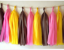 Mixed Yellow Pink Black Tissue Paper Tassels( 15 Tassels Per Packge) Wedding Bunting Banner Birthday Party Hanging Decoration(China)