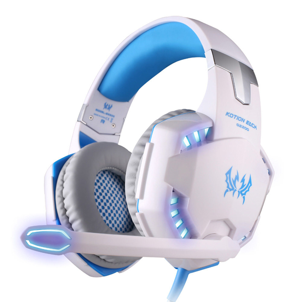 KOTION EACH G2200 Surround Sound Gaming Headsets Stereo Professional Headphone Computer Game USB7.1 Vibration LED Light with Mic<br>