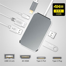 2019 концентратор USB 3,1 Тип C к HDMI адаптер 100 W зарядка PD Thunderbolt 3 USB C концентратор для MacBook samsung Galaxy S9 huawei P20 Pro(Китай)