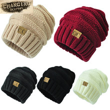 13 colors Unisex Winter Knitted Wool Cap Women Men Folds Casual CC labeling Beanies Hat Solid Color Hip-Hop Beanie Hat Gorros(China)