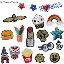 DoreenBeads Patched Denim Polyester Embroidered Appliques DIY Scrapbooking Craft Hamburger Anchor Jean Jacket Patches 1PC