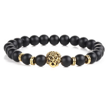 Punk Lion Head Design Cool Bracelet Black Natural Stone Lava Beaded Strand Braclet For Men Boy Cool Prayer Jewelry Pulseira